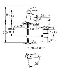 Grohe Lavabo Bataryası Eurosmart S-Boyut Krom - 32926002 - Thumbnail