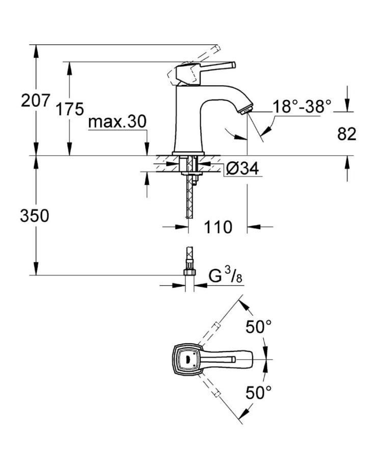 Grandera Tek Kumandalı Lavabo Bataryası M-Boyut