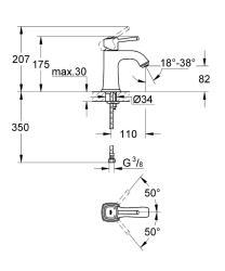 Grandera Tek Kumandalı Lavabo Bataryası M-Boyut - Thumbnail
