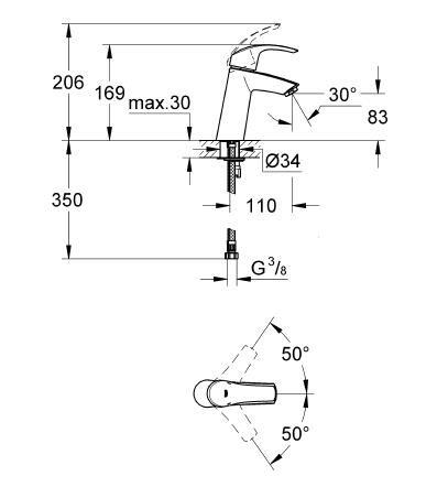 Grohe Lavabo Bataryası Eurosmart M-Boyut Krom - 23324001