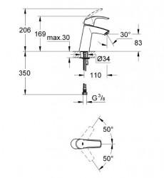 Grohe Lavabo Bataryası Eurosmart M-Boyut Krom - 23324001 - Thumbnail