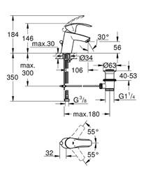 Grohe Eurosmart Tek Kumandalı Lavabo Bataryası S-Boyut - 33265002 - Thumbnail