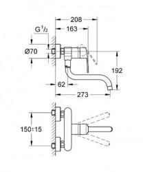 Grohe Eviye Bataryası Duvardan Aplike Eurostyle Krom - 33982002 - Thumbnail