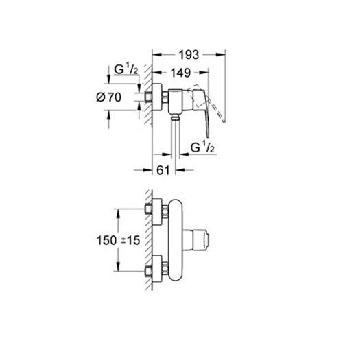 Grohe Eurostyle Cosmopolitan Tek Kumandalı Duş Bataryası - 33590002