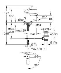 Grohe Lavabo Bataryası Eurostyle Cosmo S-Boyut Krom - 2337420E - Thumbnail