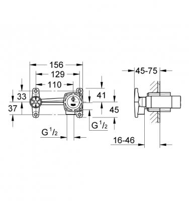 GROHE - Grohe Duvardan Lavabo Bataryası Ankastre Iç Gövde - 23319000 (1)
