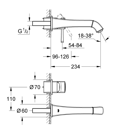 Grohe Grandera İki Delikli Duvardan Lavabo Bataryası - 19930000