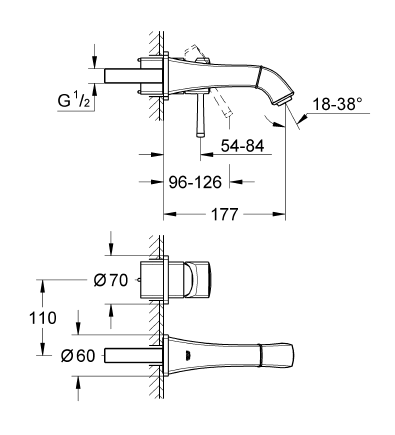 Grohe Grandera İki Delikli Duvardan Lavabo Bataryası - 19929000