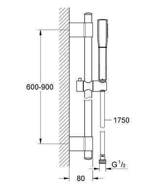 Grohe Duş Sürgüsü Seti Tek Akışlı Grandera Krom/Altın - 26038IG0