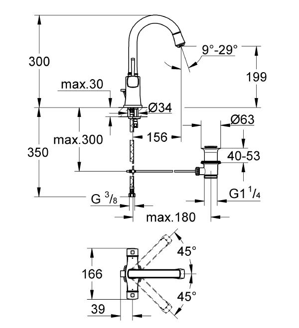 Grohe Grandera Tek Delikli Lavabo Bataryası - 21107000