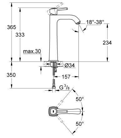 Grohe Grandera Tek Kumandalı Çanak Lavabo Bataryası