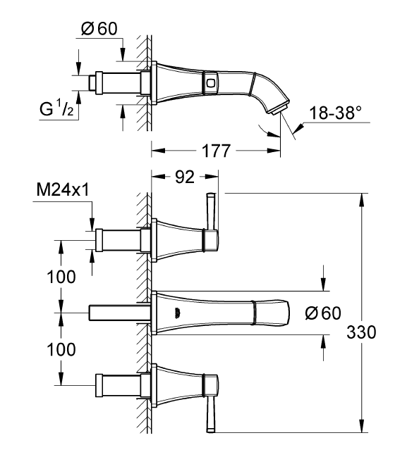 Grohe Grandera 3 Delikli Duvardan Lavabo Bataryası