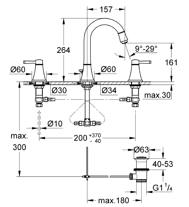 Grohe Lavabo Bataryası 3 Delikli Grandera Krom/Altın - 20389IG0