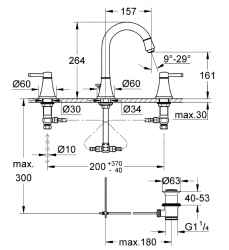 Grohe Lavabo Bataryası 3 Delikli Grandera Krom/Altın - 20389IG0 - Thumbnail