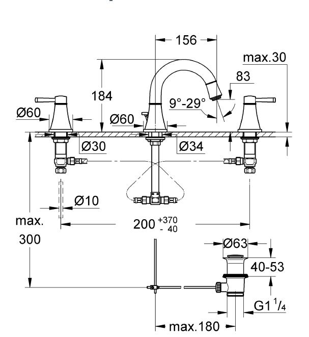 Grohe Lavabo Bataryası 3 Delikli Grandera Krom/Altın - 20417IG0