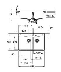Grohe 700 Kuvars Kompozit Eviye 90 -C 83,8 / 55,9, Granit Gri Rengi - 31657AT0 - Thumbnail