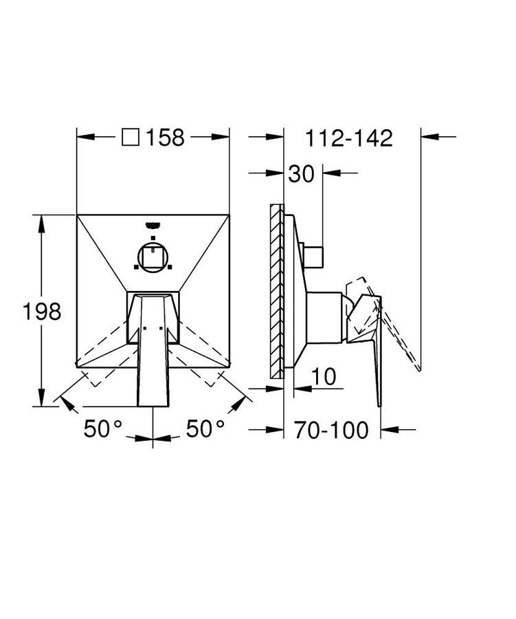 Grohe Allure Brilliant Ankastre Banyo Duş Bataryası 3 çıkışlı divertörlü- 24099000