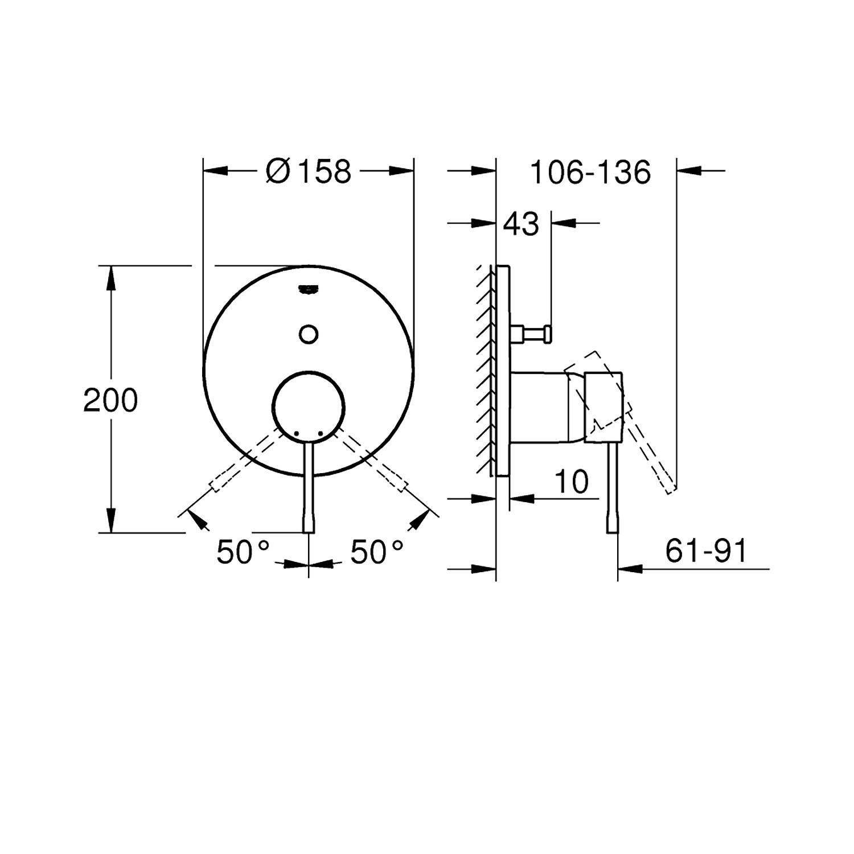 Grohe Ankastre Banyo Bataryası 2 Çık. Essence Br.H.Graph-24058AL1