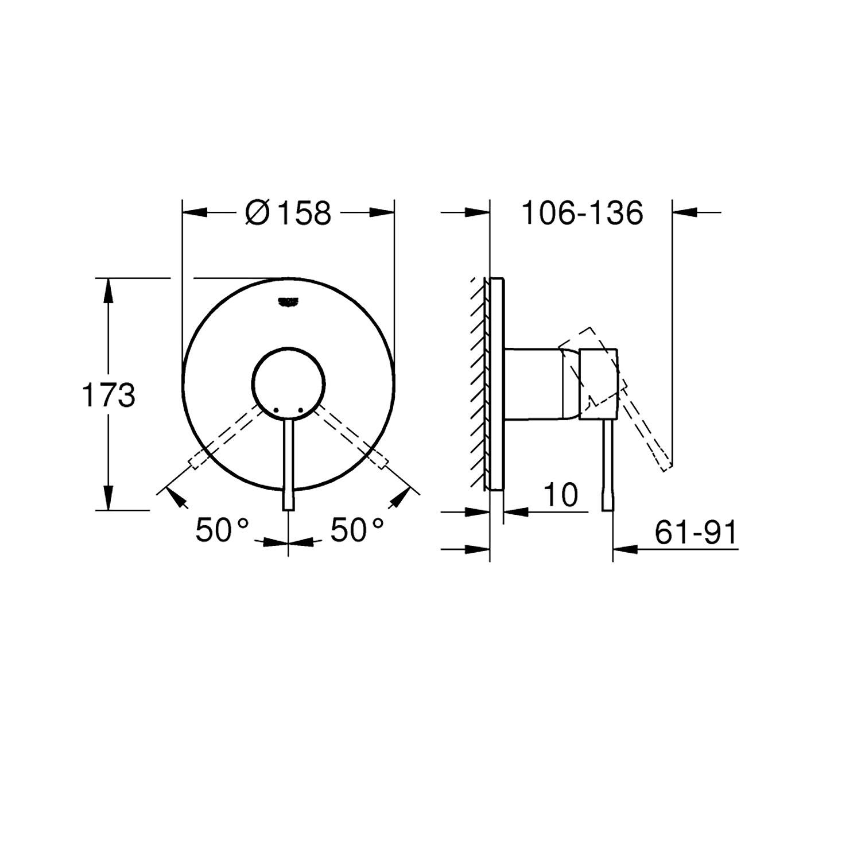 Grohe Ankastre Duş Bataryası 1 Çık. Essence Cool Sunrise-24057GL1