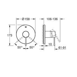 Grohe Ankastre Duş Bataryası 1 Çık. Essence Cool Sunrise-24057GL1 - Thumbnail