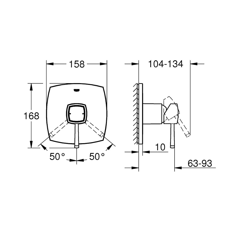 Grohe Ankastre Duş Bataryası 1 Çık. Grandera Krom/Altın-24067IG0