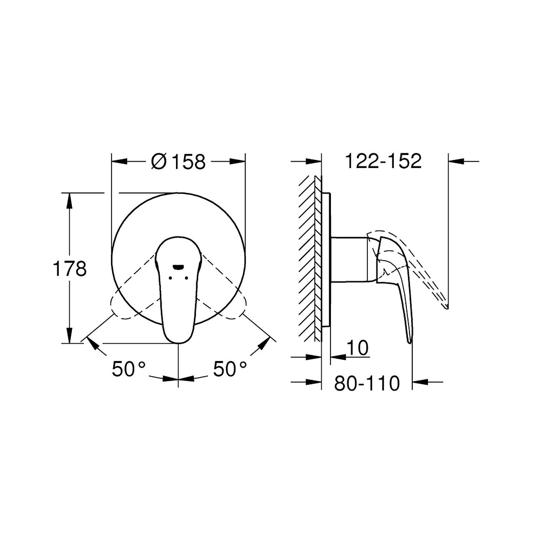 Grohe Ankastre Duş Bataryası 1 Çıkışlı Eurostyle Krom - 24046003