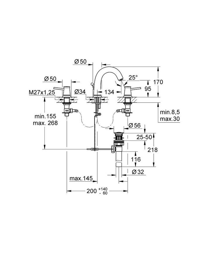 Grohe BauClassic 3 Delikli Lavabo Bataryası-20470000
