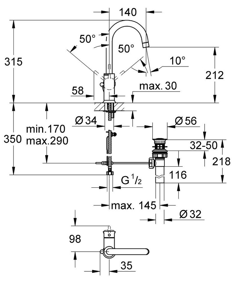Grohe Lavabo Bataryası BauClassic L-Size Krom - 23095000