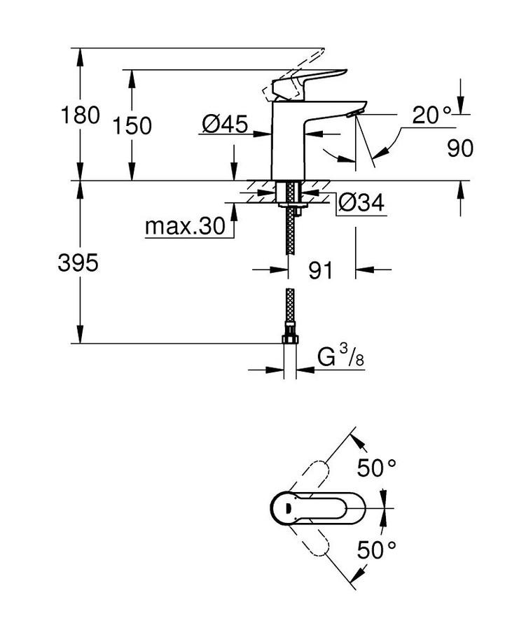 Grohe Lavabo Bataryası BauEdge S-Boyut Krom - 23330000