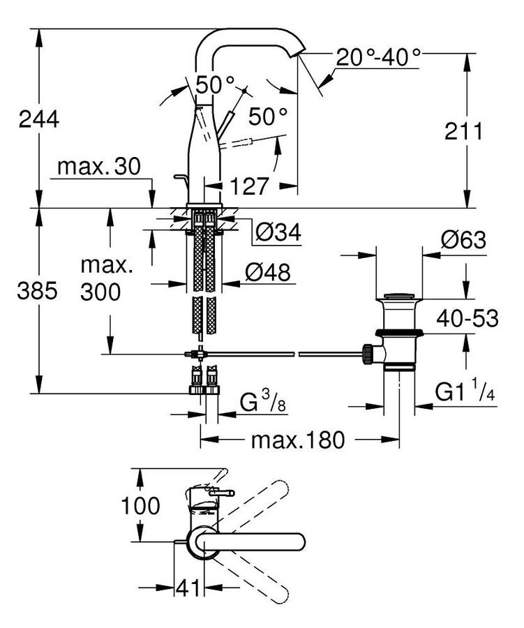 Grohe Lavabo Bataryası Essence L-Boyut Pol. Nickel - 32628BE1