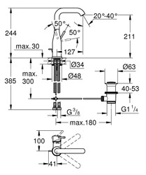 Grohe Lavabo Bataryası Essence L-Boyut Pol. Nickel - 32628BE1 - Thumbnail