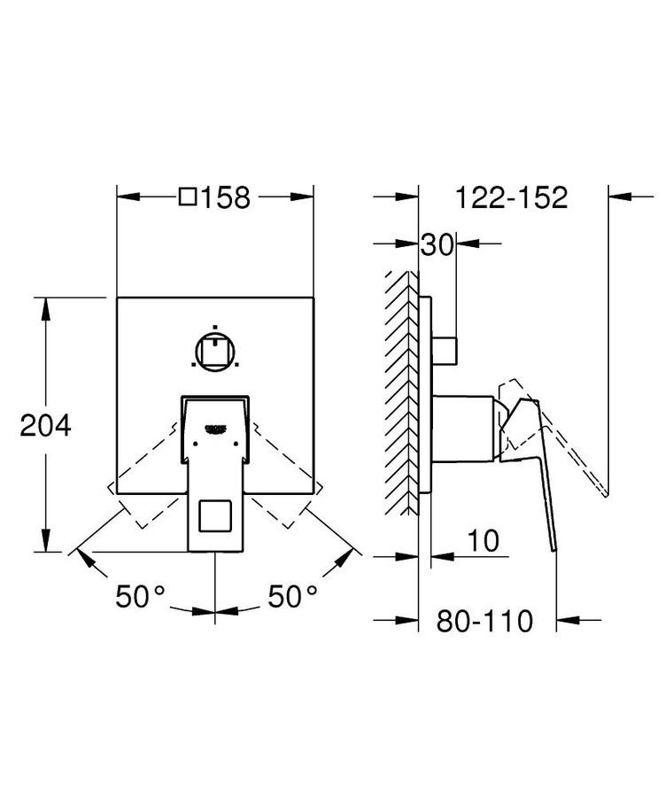 Grohe Eurocube Ankastre Banyo Duş Bataryası 3 çıkışlı divertörlü- 24094000