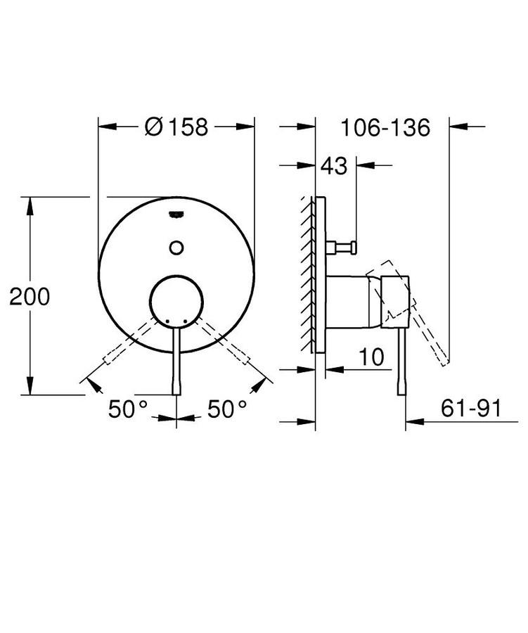 Grohe Eurocube Ankastre Banyo Duş Bataryası 2 çıkışlı divertörlü- 24062000