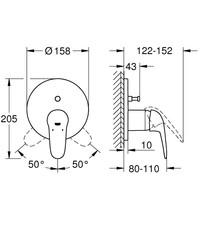 Grohe Eurostyle Ankastre Banyo Duş Bataryası 2 çıkışlı divertörlü- 24047003 - Thumbnail