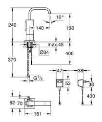 Grohe Fotoselli Lavabo Bataryası Elektrikli çift sugiriş 36095000 - Thumbnail