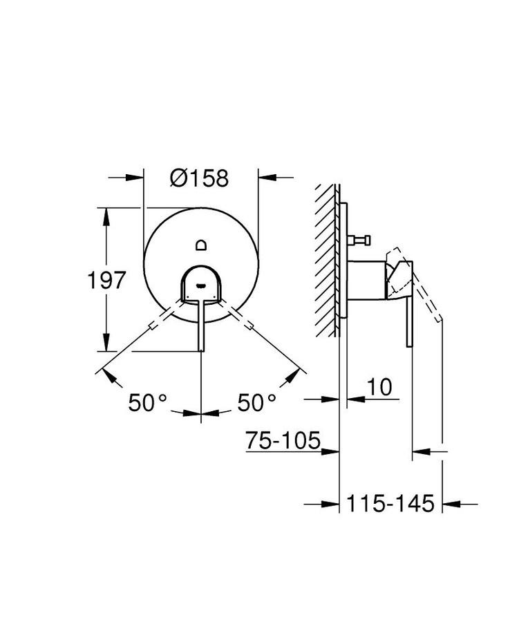 Grohe Plus Ankastre Banyo Duş Bataryası 2 çıkışlı divertörlü- 24060003
