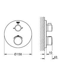 Grohe Grohtherm Termostatik Banyo Duş Bataryası 2 çıkışlı divertörlü- 24077000 - Thumbnail
