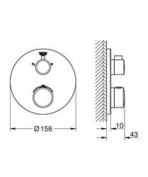 Grohe Grohtherm Termostatik Banyo Duş Bataryası 2 çıkışlı divertörlü- 24076000 - Thumbnail