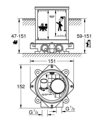 GROHE - Grohe Ayaklı Yerden Banyo Duş ve Küvet Bataryaları İçin Montaj Seti (1)