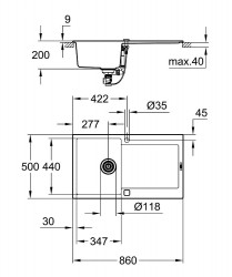 Grohe K500 Kuvars Kompozit Eviye 50 -C 86/50, Granit Siyah Rengi - Thumbnail