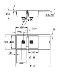 Grohe K500 Kuvars Kompozit Eviye 80 -C 116/50, Granit Gri Rengi - 31647AT0 - Thumbnail