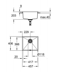 Grohe K700U Kuvars Kompozit Eviye 50 -C 45,7/40,6, Granit Gri Rengi - 31653AT0 - Thumbnail
