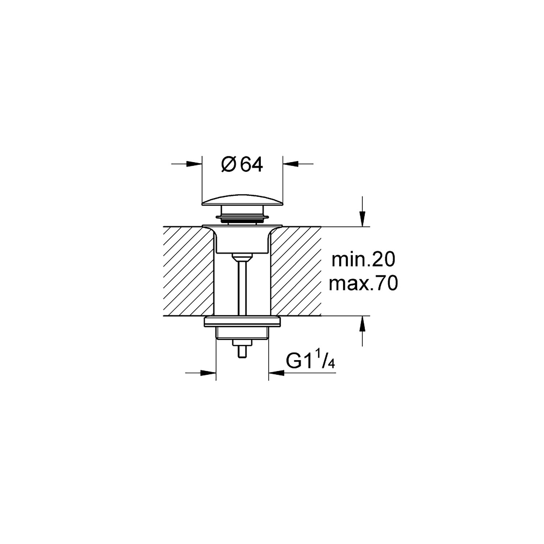 Grohe Lavabo Sifon Tapası Bas-Aç Hard Graphite - 65807A00