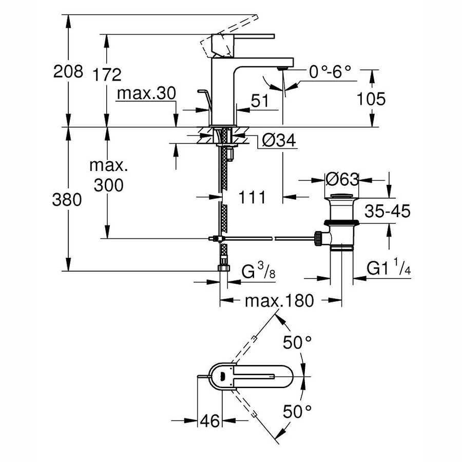 Grohe Lavabo Bataryası Plus S-Boyut Krom - 32612003