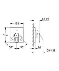 Grohe Quadra Divertörlü Dış Ayna Volan Grubu Tek Kollu Banyo Bataryası 19456000 - Thumbnail