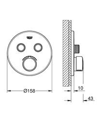 Grohe Smartcontrol Çift Valfli Akış Kontrollü Ankastre Duş Bataryası 29145000 - Thumbnail