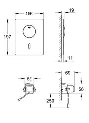 Grohe Gömme Rezervuar Fotoselli Kumanda Paneli P.Çelik- 37419SD0 - Thumbnail