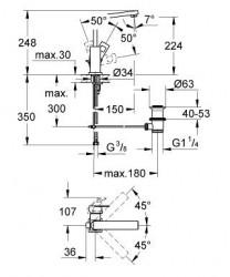 Grohe Lavabo Bataryası Eurocube L-Boyut Krom - 23135000 - Thumbnail