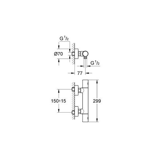 Grohe Grohtherm 1000 Cosmopolitan Termostatik Duş Bataryası - 34065002