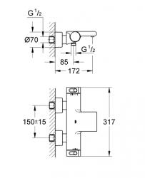 Grohe Grohtherm 2000 NEW Termostatik Banyo Bataryası - 34174001 - Thumbnail